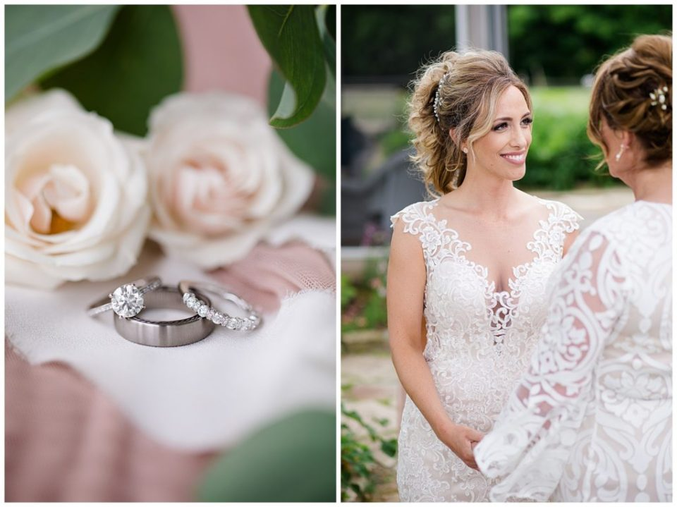A picture of a closeup view of wedding rings and lovely roses, and a view of the bride smiling with her bridesmaid at Jorgensen Farms wedding venue by Alayna Parker  - Columbus  wedding photographer