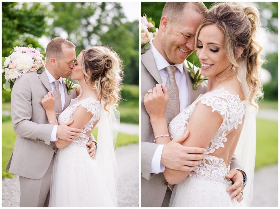 An image of the bride and groom kissing, and a closeup view of them holding each other romantically at Jorgensen Farms wedding venue by Alayna Parker Photography  - Columbus Ohio outdoor wedding photographer