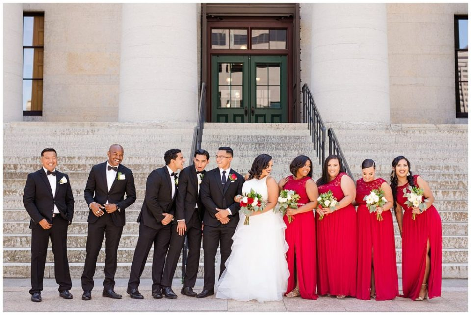 bridal party laughing at ohio statehouse