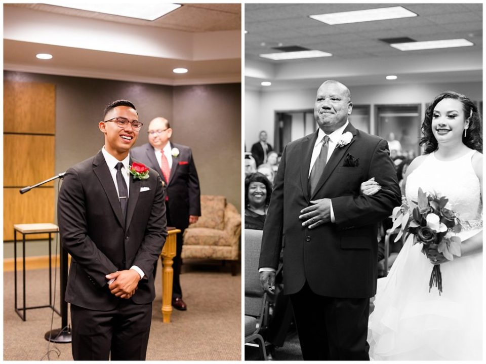 A picture of the happy groom as he waits for the bride to walk down the aisle toward him, and a black and white view of the bride walking down the aisle with her father by Columbus  wedding photography specialist, Alayna Parker Photography