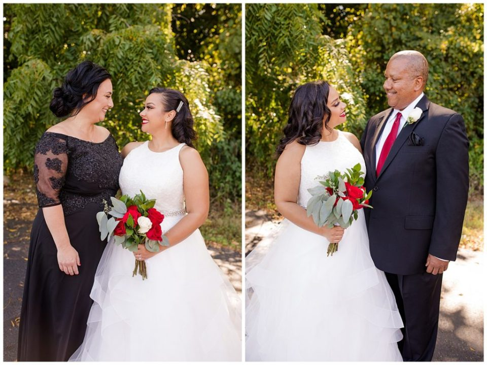 A photograph of the bride and her mother smiling after the wedding ceremony, and a view of the bride and her father smiling together by Columbus OH wedding photography specialist, Alayna Parker Photography