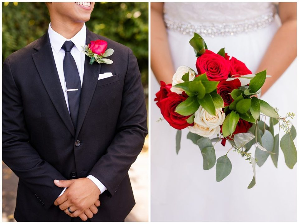 An image of a closeup of the groom's tuxedo and boutonnière, and a closeup view of the bride's bouquet by Columbus Ohio wedding photography specialist, Alayna Parker Photography