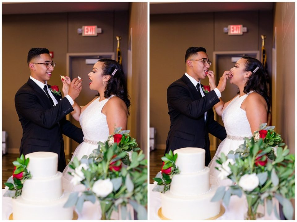 A photograph of the bride and groom getting ready to eat the wedding cake, and a view of them feeding each other the cake at their reception by Columbus OH wedding photography specialist, Alayna Parker Photography