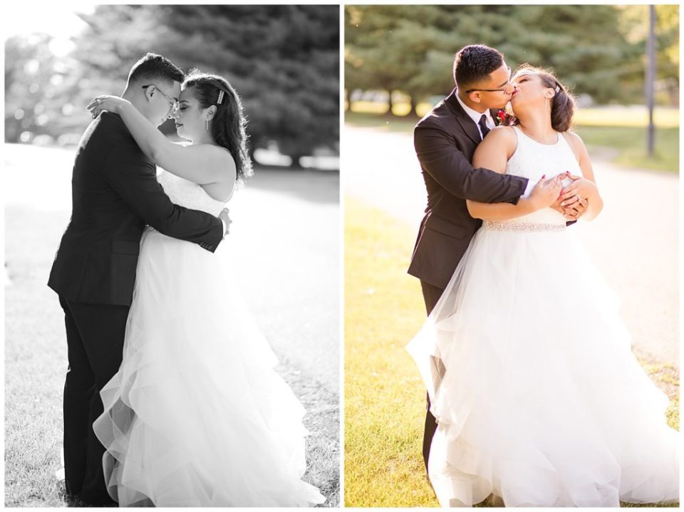 black and white image of bride and groom touching foreheads during golden hour at stewart hall in obetz