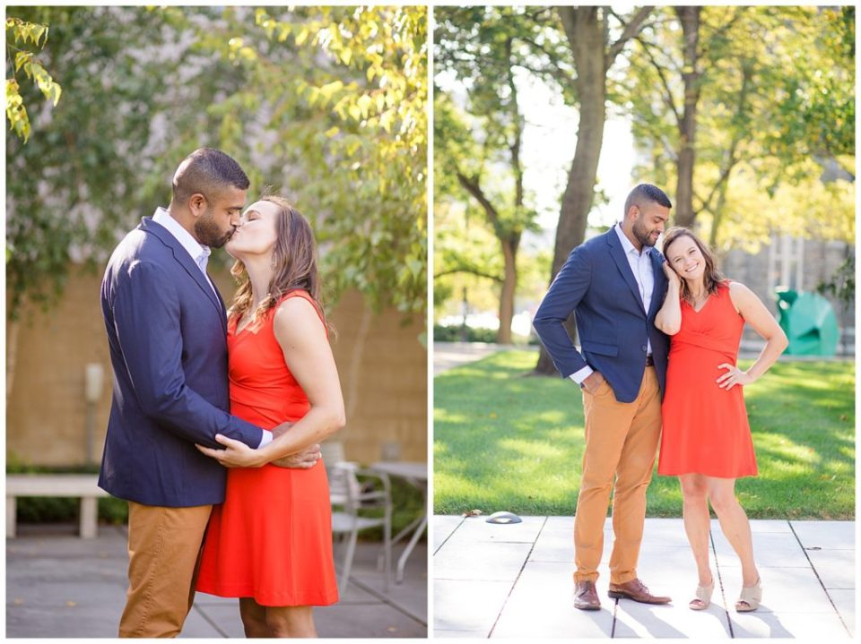 An image of an engaged couple holding and kissing each other, and a view of them standing close, smiling happily outdoors at the Columbus Museum of Art by Alayna Parker  - Columbus Ohio engagement photographer