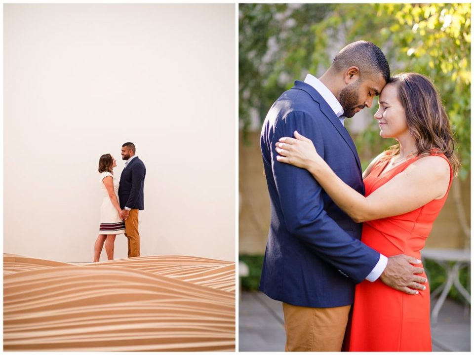 A photograph of a long-range view of an engaged couple standing together, and a view of them closeup, holding each other and romantically touching foreheads at the Columbus Museum of Art by Alayna Parker  - Columbus OH engagement photography