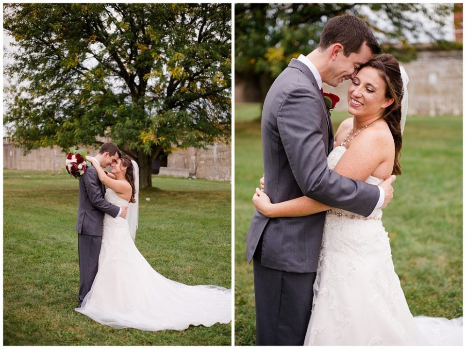 A photograph of the bride and groom embracing each other, one at a distance, one closeup at a Station 67 Columbus Ohio wedding by Alayna Parker Photography
