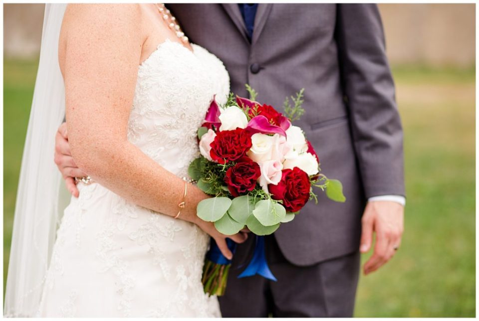 A picture of a closeup view of the bride's beautiful bouquet at a Station 67 Columbus OH wedding by Alayna Parker Photography