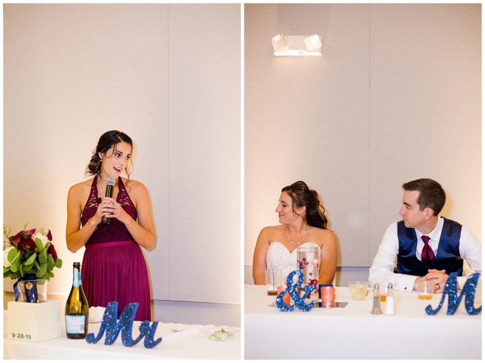 A picture of the maid of honor giving a speech at the wedding reception, and another photo shows the bride and groom listening at a Station 67 Columbus OH wedding by Alayna Parker Photography