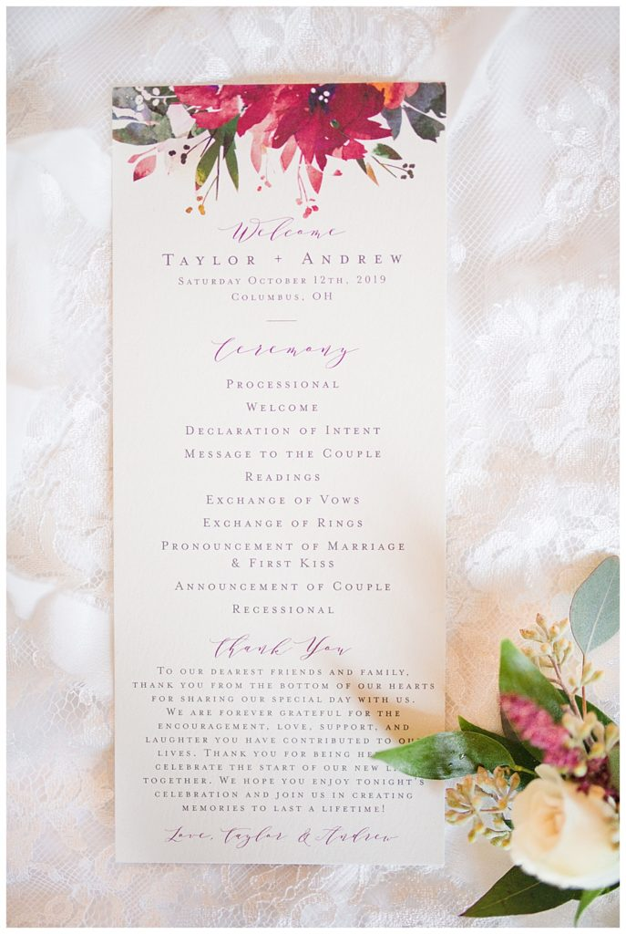 watercolor floral wedding ceremony program