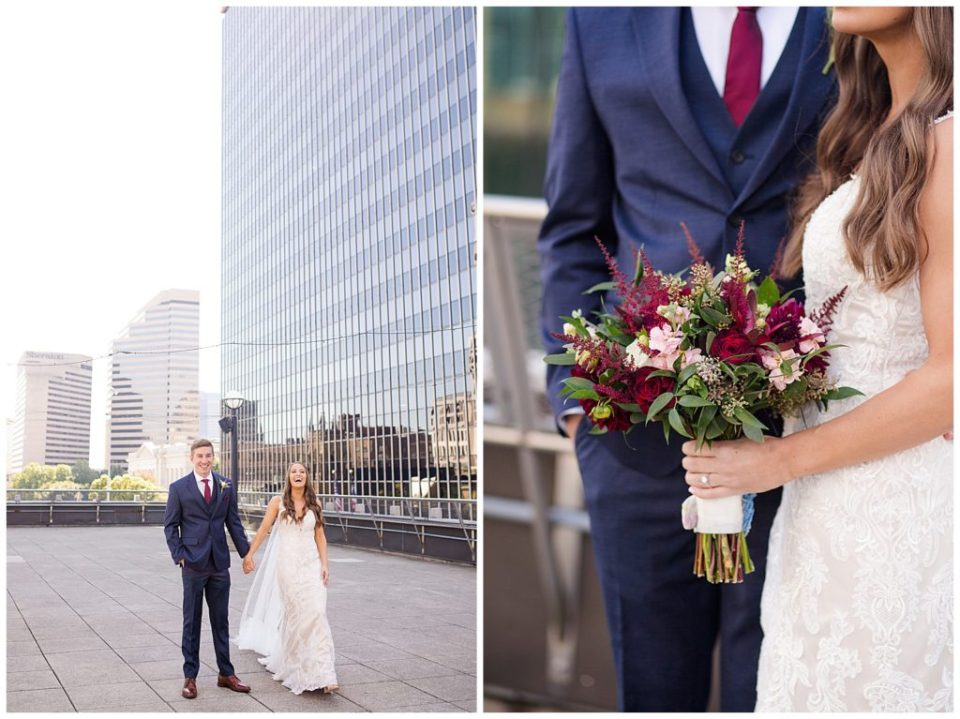 bride and groom laughing as they walk on rooftop at renaissance hotel
