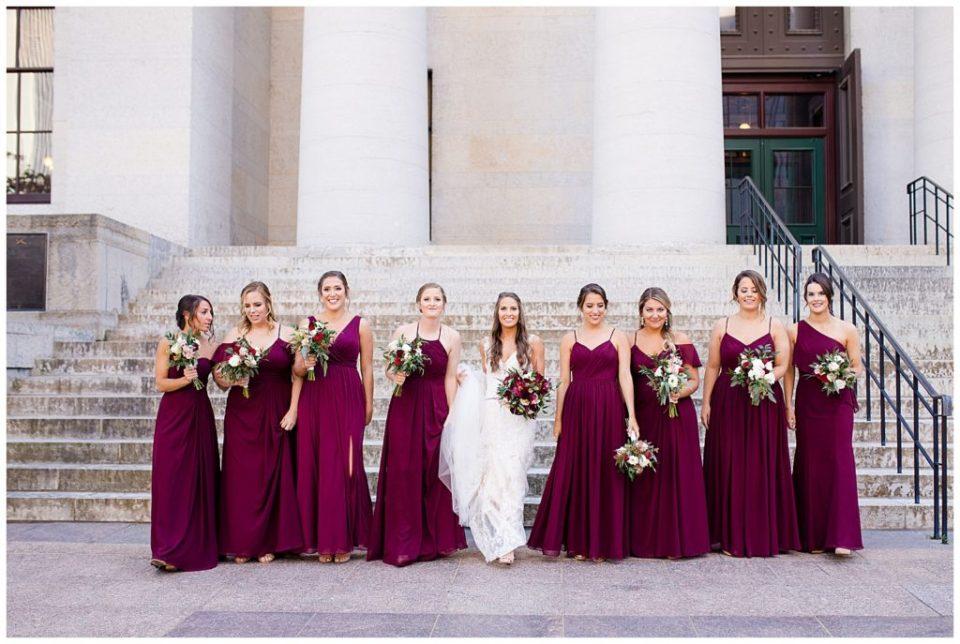 bride and bridesmaids walking outside ohio statehouse