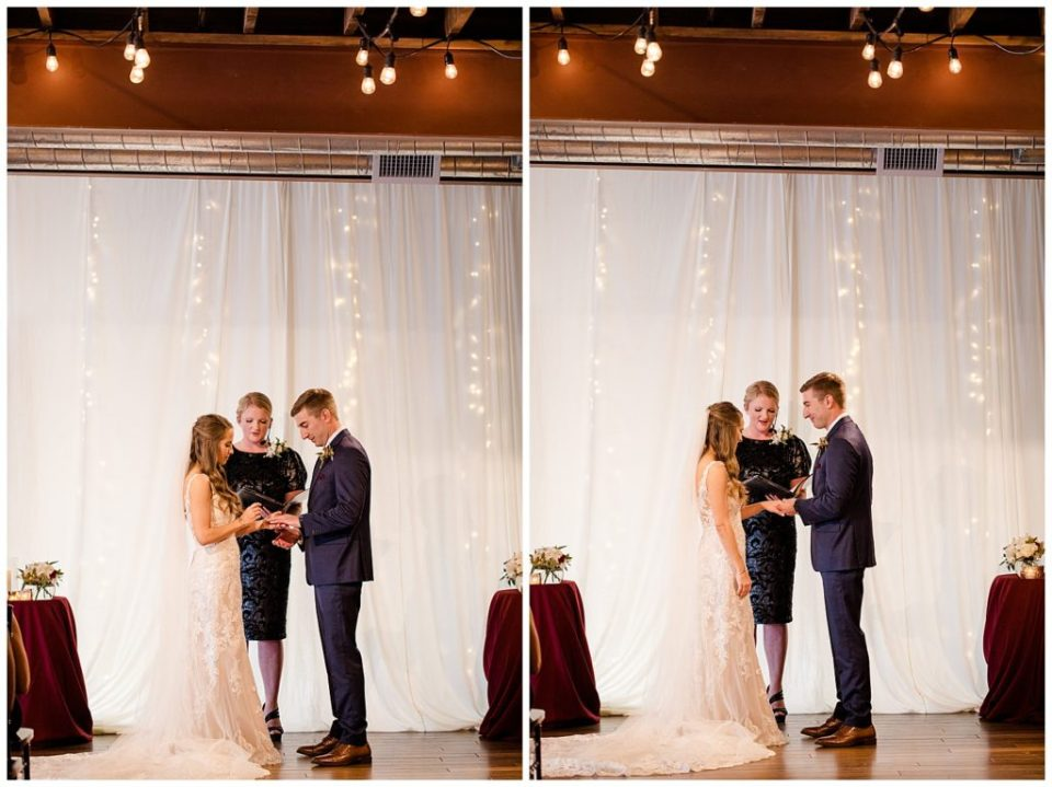 bride and groom exchanging rings at copius
