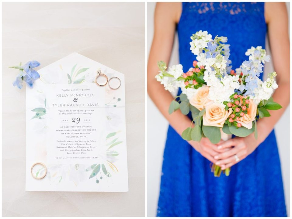 A photograph of the wedding rings resting on the wedding invitation, and a view of a bridesmaid in her beautiful dress and holding her bouquet at a Nationwide Hotel and Conference Center wedding by Columbus OH wedding photographer, Alayna Parker Photography