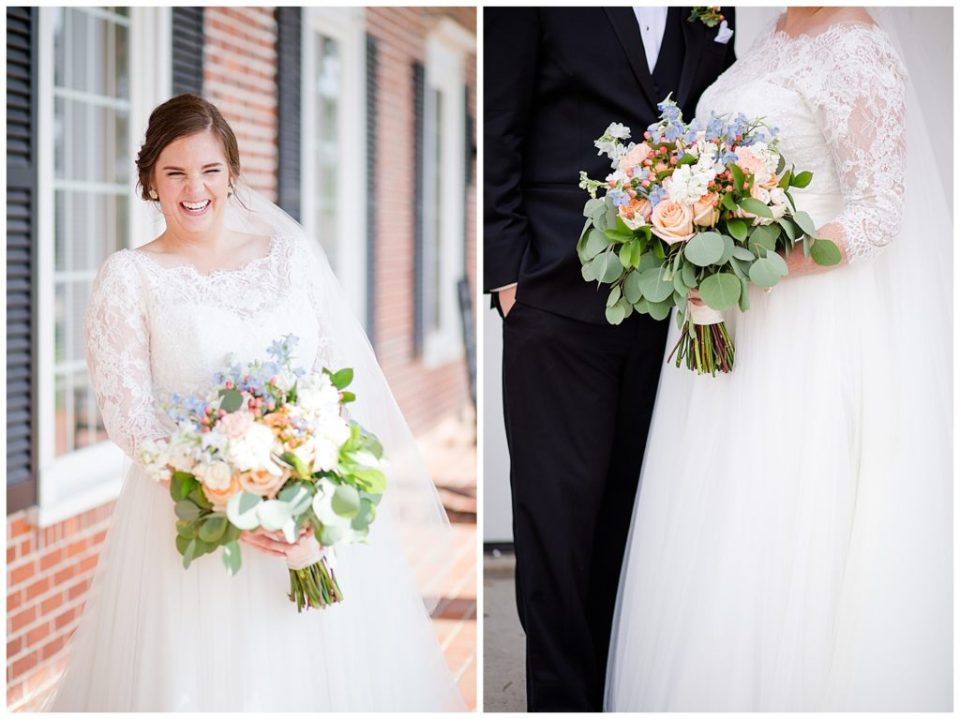 A picture of the joyful bride and her bouquet, and a view of her dress and bouquet at a Nationwide Conference Center wedding by Columbus  wedding photographer, Alayna Parker Photography