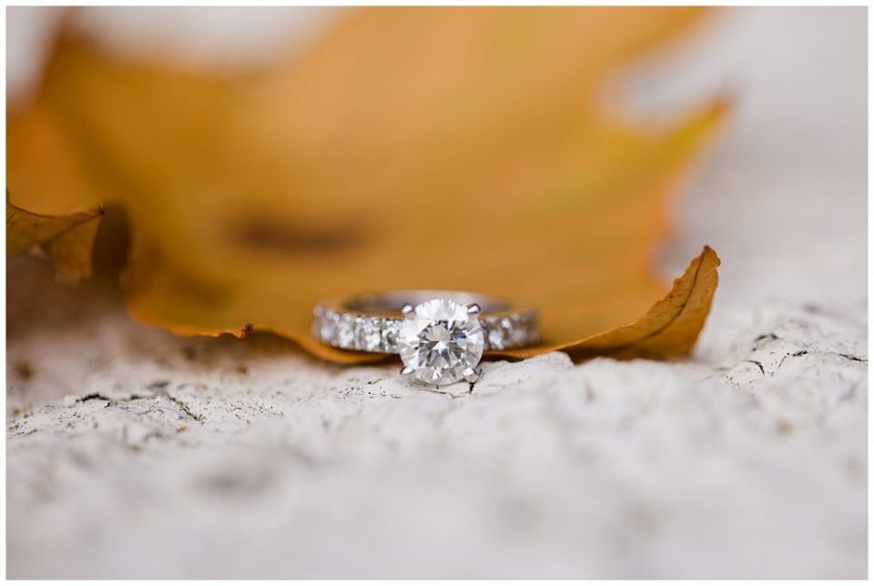A photograph of a closeup view of an engagement ring displayed on a beautiful fall leaf at Brookside Golf & Country Club by Columbus OH engagement photographer, Alayna Parker Photography