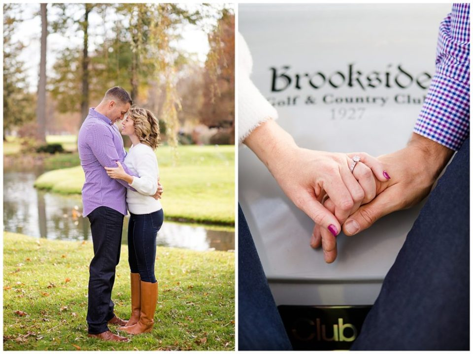 A picture of an engaged couple standing close, smiling and holding each other, and a view of their hands holding each other, showing the club name and the engagement ring at Brookside Golf & Country Club by Columbus  engagement photographer, Alayna Parker Photography
