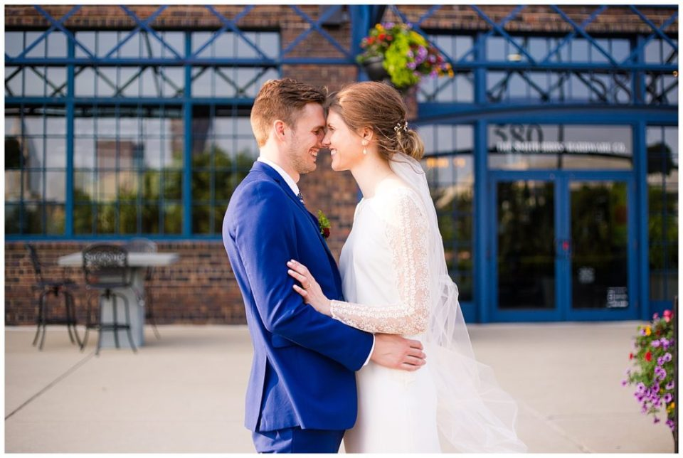 bride and groom during golden hour at dock 580