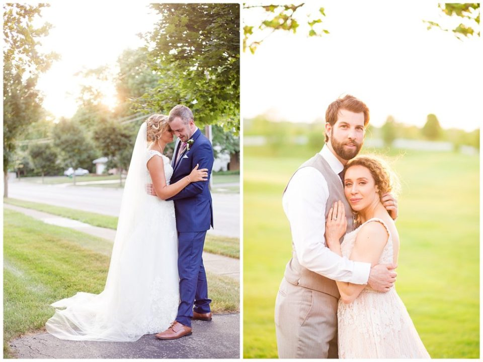 bride and groom during golden hour at new albany country club