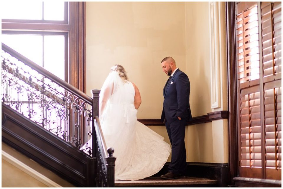 bride twirling on steps at the postmark