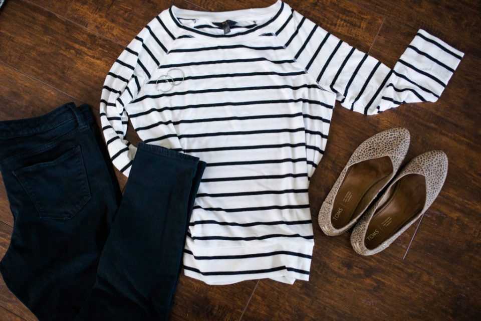 how to style a black and white striped top polished
