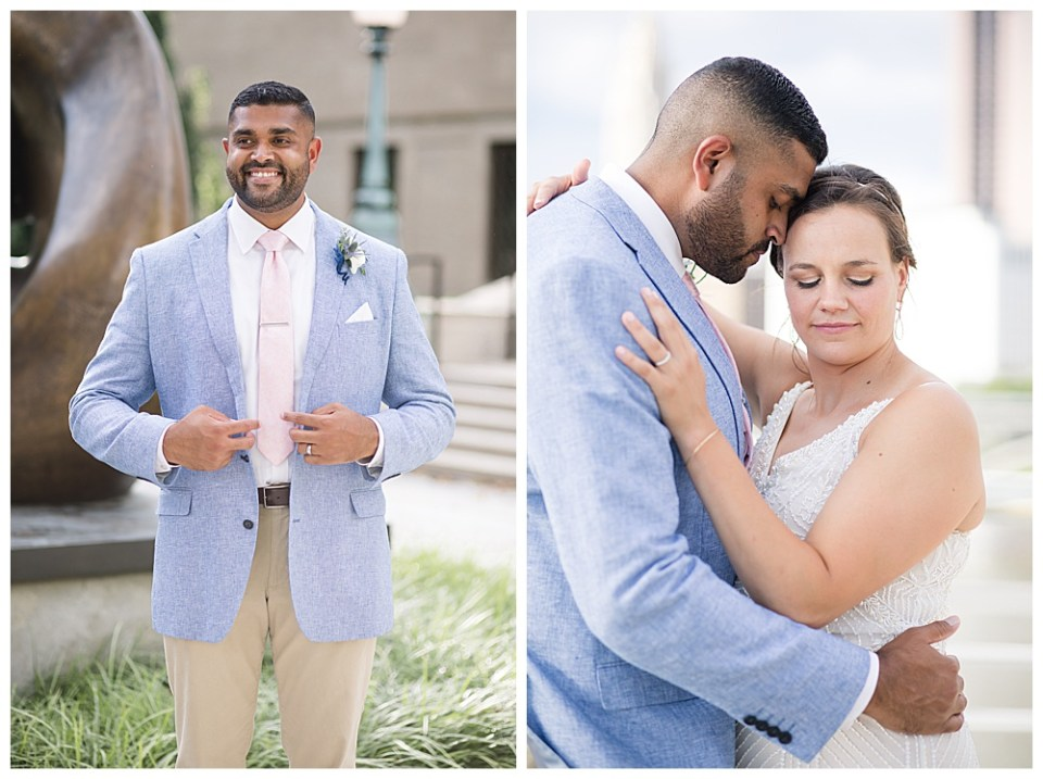 An image of a groom smiling as he puts on his jacket for the wedding while he stands outside of the marriage venue in a Columbus Museum of Art wedding