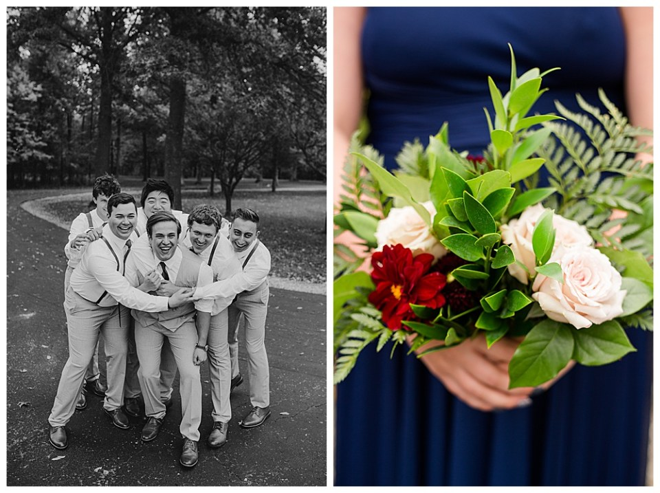 A photograph in black and white of the groom and his groomsmen relaxing and encircling the groom with their arms as they lean in and laugh together and a closeup view of the bridesmaid's delicate bouquet