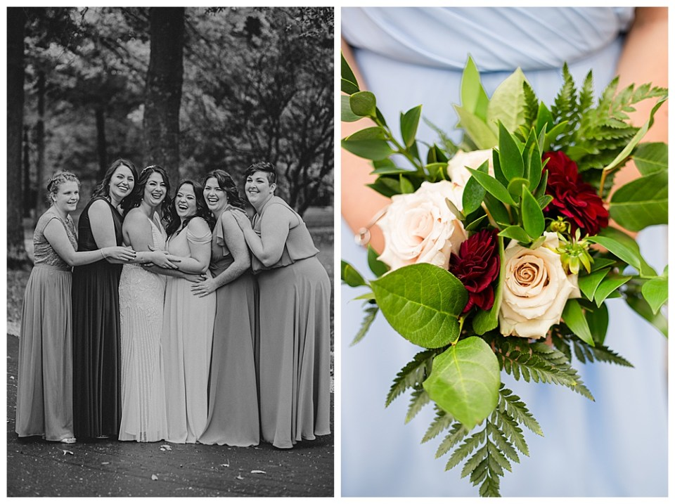 A photograph in black and white of the bride and her bridesmaids lined up outdoors, laughing together in their beautiful long dresses, and a closeup view of the maid of honor's lovely bouquet