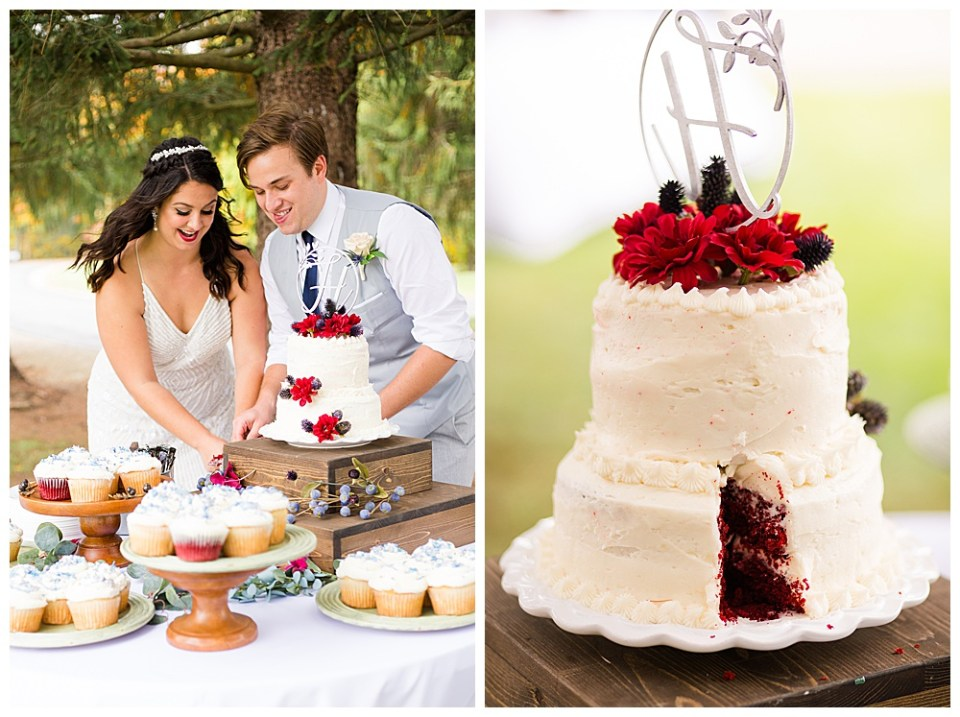 A photograph of a bridal couple arranging the first piece of wedding cake to taste it as cupcakes sit nearby for the guests and a view of the wedding cake with the first piece already cut and eaten