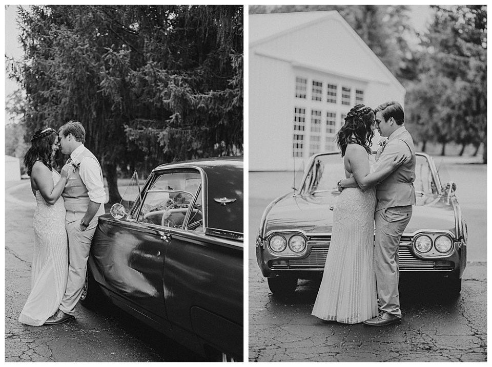 An image in black and white of the bridal couple romantically standing close as they lean against their getaway car and a view of them embracing, touching foreheads, standing in front of a vintage car