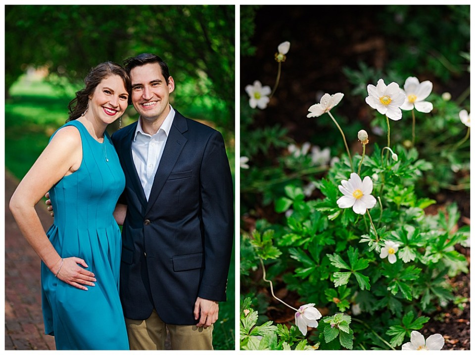 Katherine & Paul standing close and smiling in Schiller Park near their home in german Village (Columbus, OH) during their engagement session by Alayna Parker, Columbus engagement photography