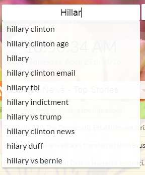 Google search for hillary