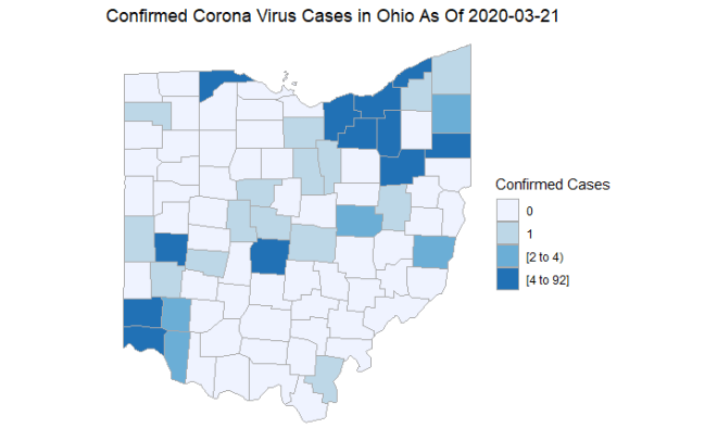 Confirmed Corona Virus Case By County In Ohio