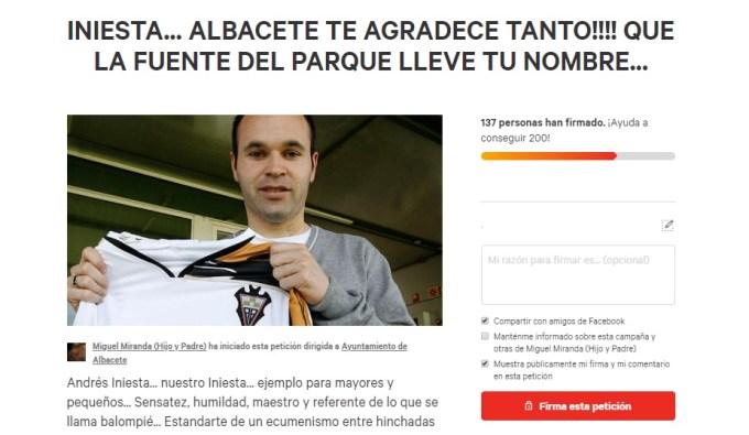 Inician una petición para poner el nombre de Iniesta a la fuente del parque Abelardo Sánchez