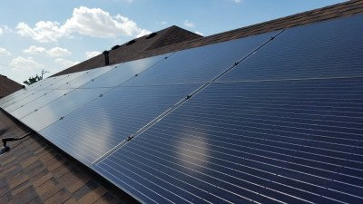 Detail of McAllen Texas solar panel install