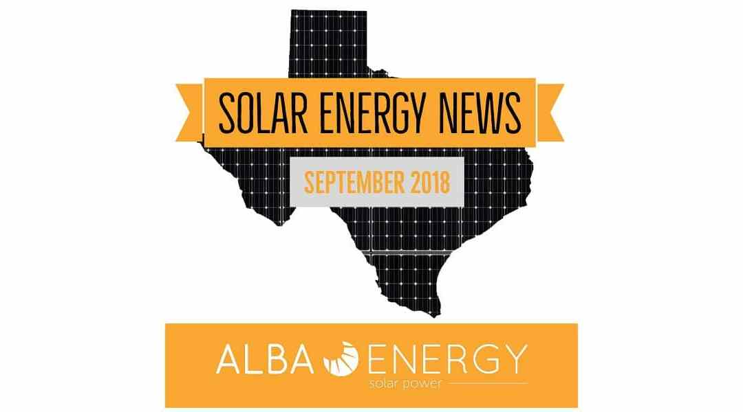 Texas Solar Energy News – September Edition