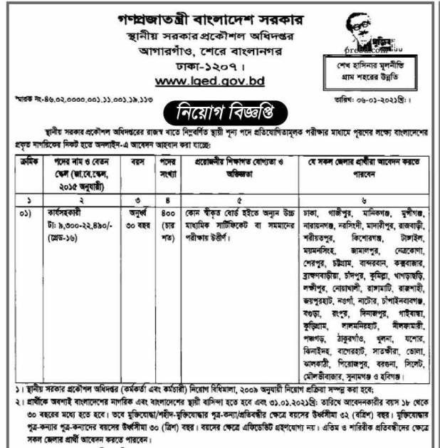 Local Government Engineering Department LGED Job Circular 2021