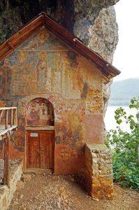 Kirche auf der Insel Maligrad, Grosser Prespasee, Albanien
