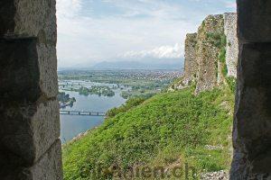Blick auf die Buna von der Burg von Shkodra, Albanien