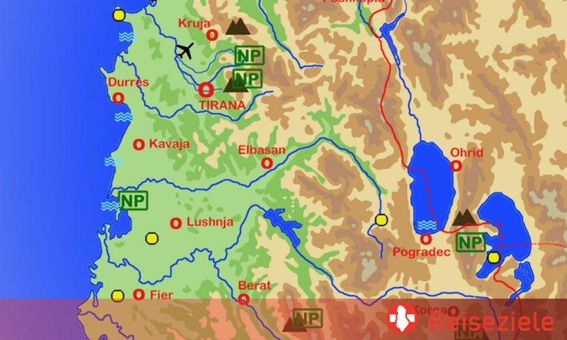 Karte von Reisezielen und Sehenswürdigkeiten in Albanien