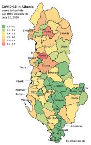 Albanien: COVID-19-Rate pro 1000 Einwohner nach Bashkia – 30. Juli 2020
