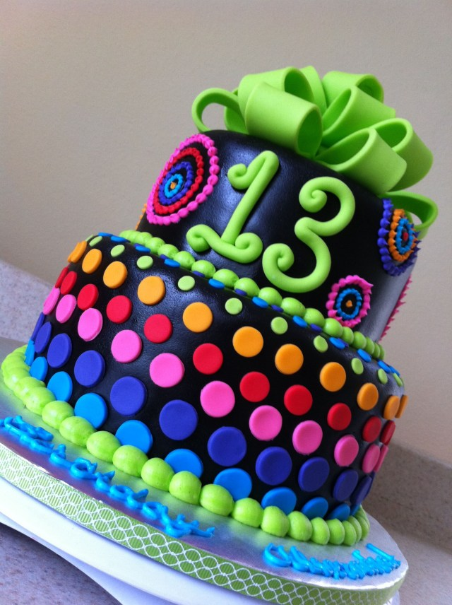 13 Birthday Cake 13th Birthday Girl Neon And Neon Blue Purple Pink Orange And