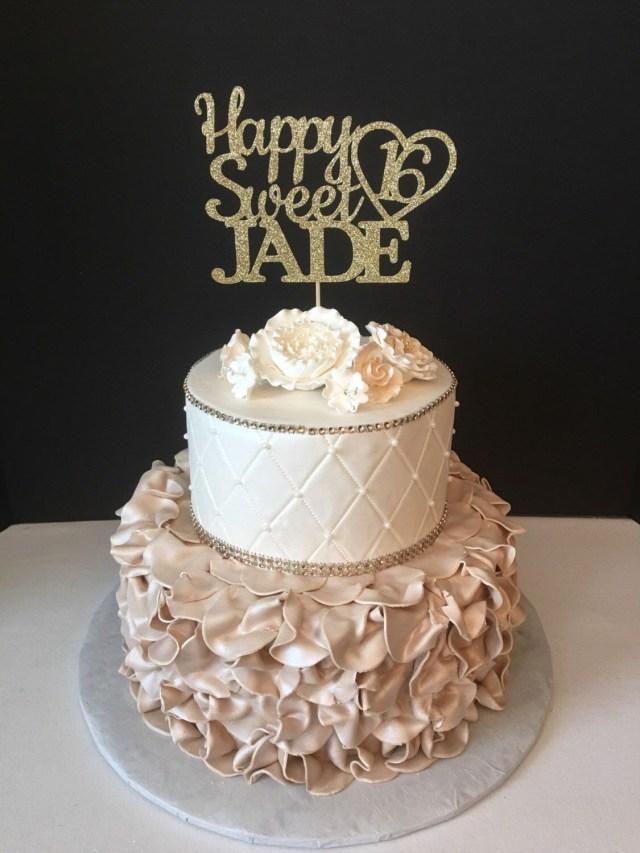 16 Birthday Cakes Any Name Glitter Happy Sweet 16 Birthday Cake Topper Sweet Sixteen
