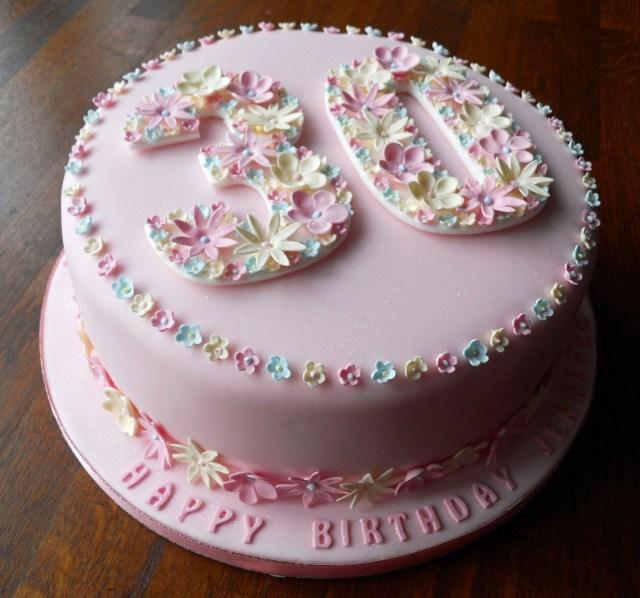 30Th Birthday Cake Ideas For Her Flowery 30th Birthday Cake Fun Cakes Pinterest 30 Birthday