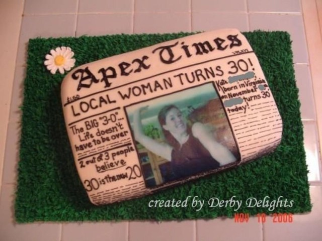 30Th Birthday Cake Ideas For Her Newspaper 30th Birthday Cake Cakecentral