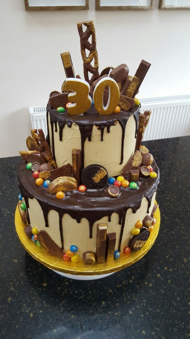 30Th Birthday Cake Ideas For Her Two Tier Chocolate Drip 30th Yuumm 30