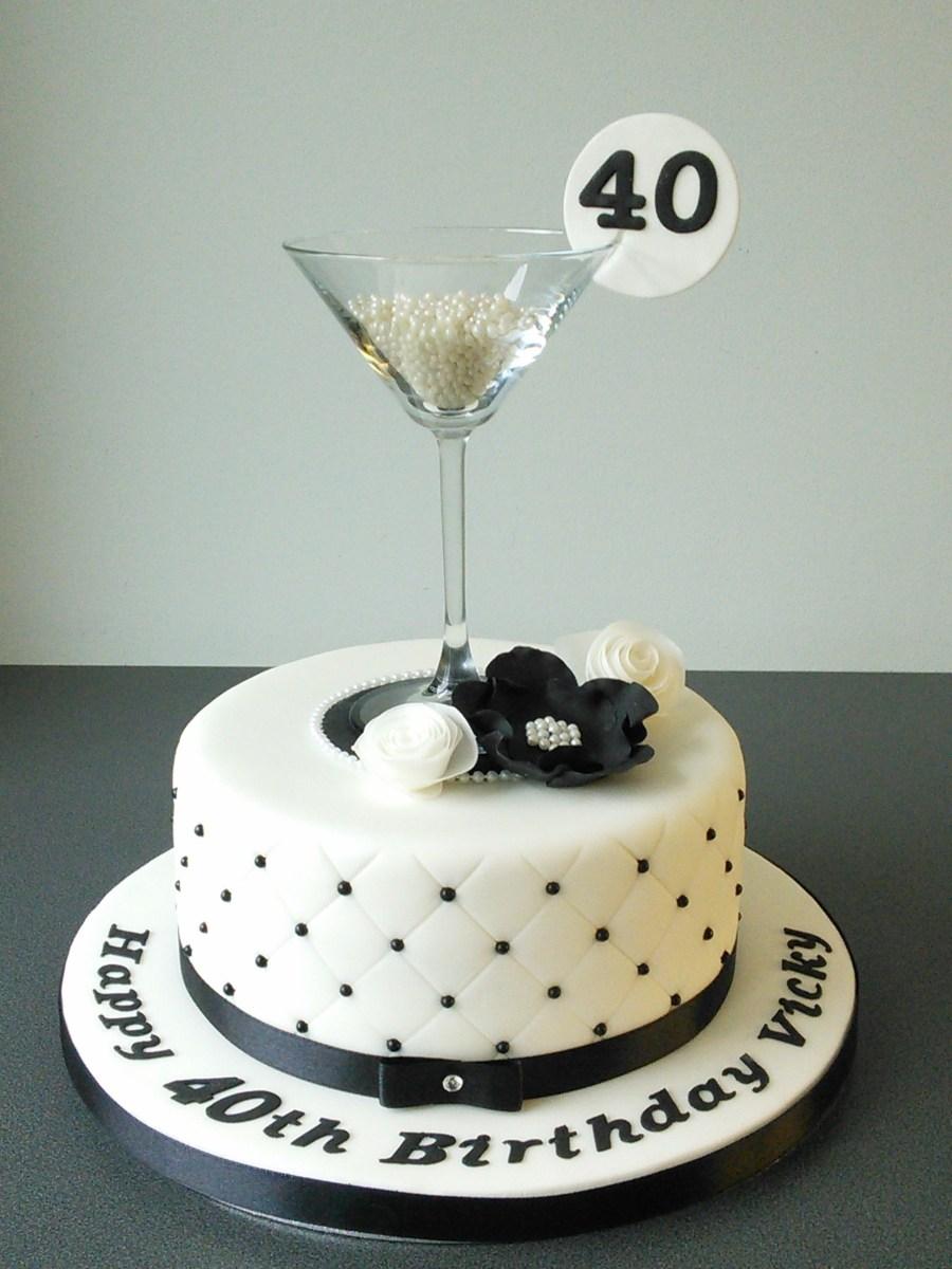 40Th Birthday Cake Ideas 40th Birthday Cake Martini Glass Black And White Quilting Cake