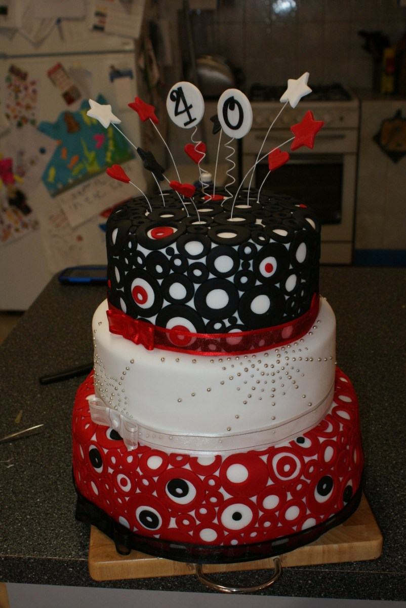 40Th Birthday Cake Ideas Black White And Red 40th Birthday Cake Cakecentral