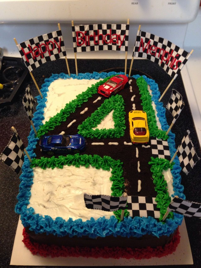 4Th Birthday Cake 4th Birthday Race Car Cake Birthdays Birthday Race Car