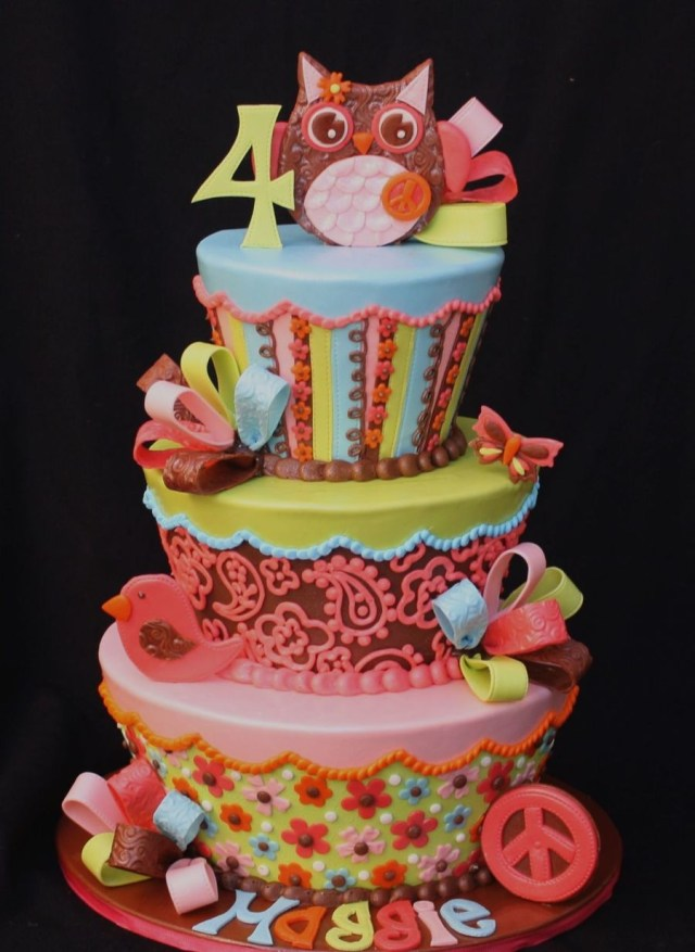 4Th Birthday Cake Groovy Owl 4th Birthday Cake Cakecentral